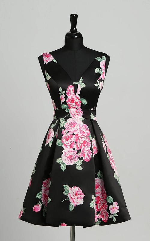 Sheath V-neck Satin Sleeveless Deep-V Back Sexy Elegant Short Mini Dress