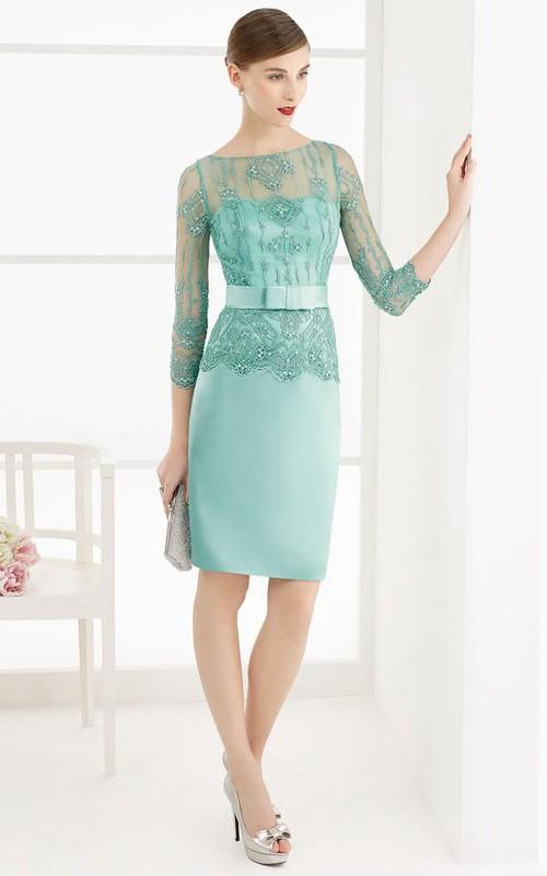 Pencil Scoop-Neck Beaded Knee-Length 3-4-Sleeve Satin Prom Dress