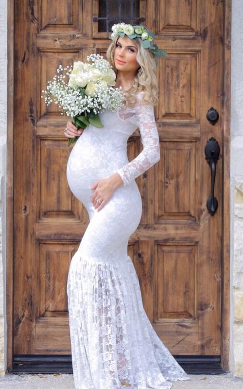 Mermaid Scoop Pleated Long Sleeve Floor-length Lace Maternity Wedding Dress