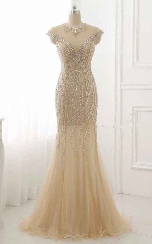 refined Cap-sleeve Sheath Tulle Prom Dress With Illusion And Crystal Detailing