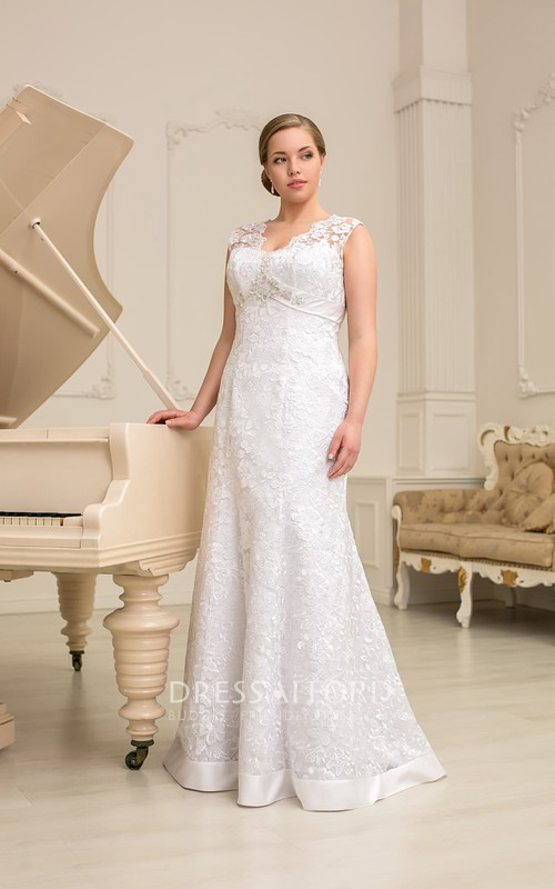 Sleeveless Rhinestone Long Column Lace Dress
