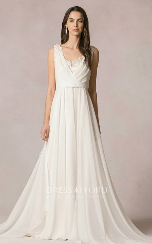 sleeveless Chiffon long Dress With Deep-v-neck And Lace
