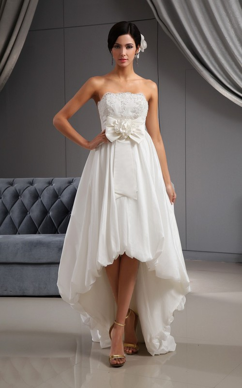 Lace-Bodice 3D Floral High-Low Sweetheart Bridal Dress
