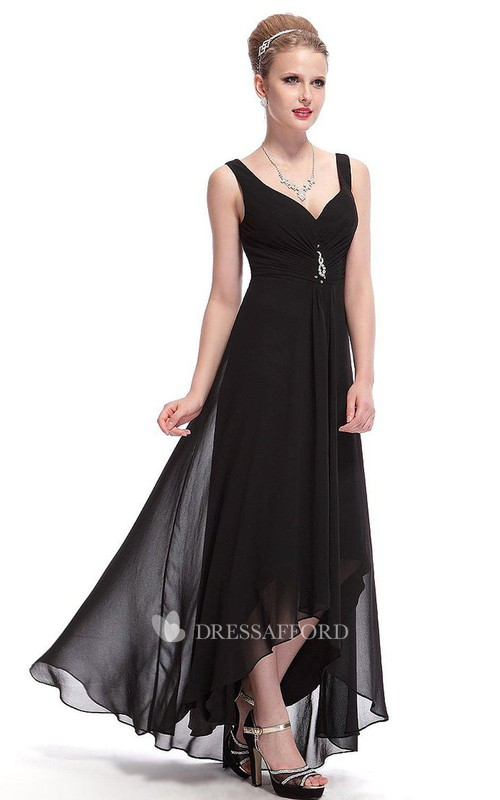 Chiffon Illusion Inspire Asymmetrical Sleeveless Dress