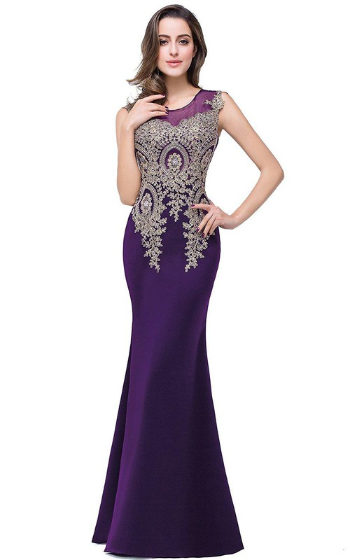 Satin Lace Sleeveless Stunning Appliqued Mermaid Gown