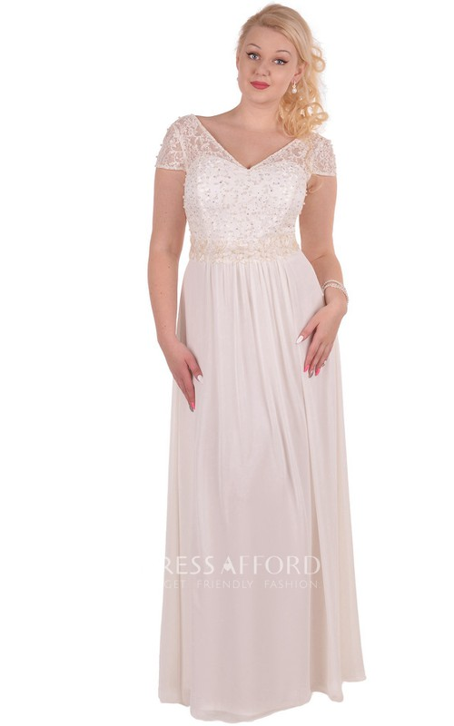 Short-Sleeve Floor-Length A-Line Appliqued Dress