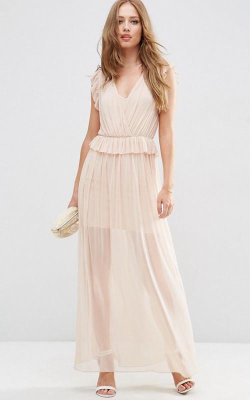 Sheath V-Neck Sleeveless Chiffon Bridesmaid Dress With Ruching