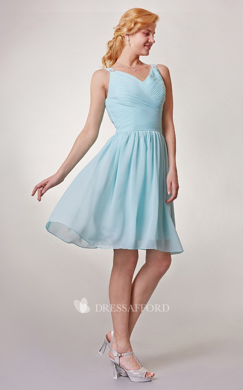 Short Ruched V-Neckline Chiffon Bridesmaid Dress