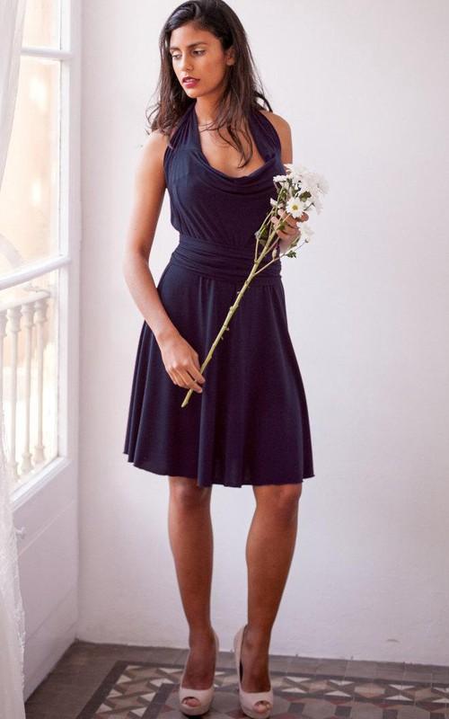Haltered Chiffon Knee-length cowl-neck Backless Dress