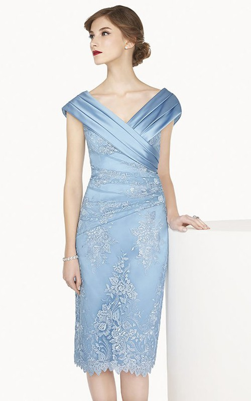 Satin V Neck Cap Sleeve Sheath Knee Length Lace Prom Dress Shown In Blue