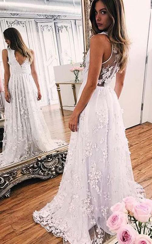 V-neck Lace Sleeveless Sweep Brush Train Pleats Embroidery Dress
