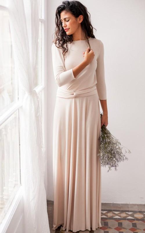 Bateau Long Sleeve Pleated long Dress With bow And Deep-V Back
