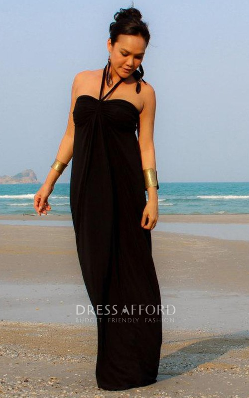 Floor-Length Strapped Long Pencil Sleeveless Dress