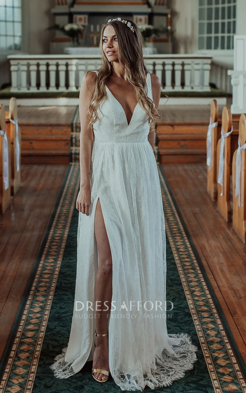 Simple Sexy Sleeveless A Line Lace V-neck Wedding Dress with Split Front