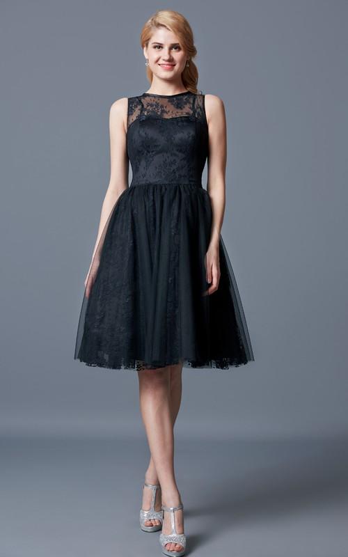 Knee-Length Lace Illusion-Neckline Bridesmaid Dress