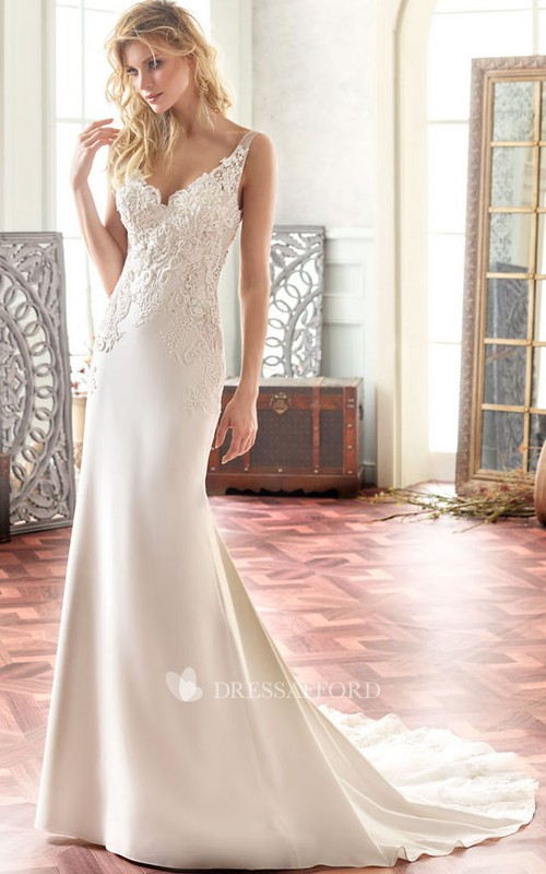 dipped-v-neck Sleeveless Sheath Wedding Dress With Lace And Court Train