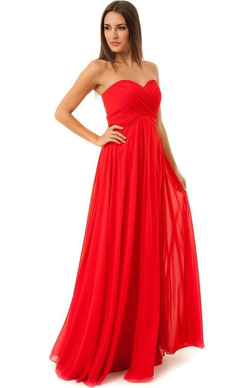 Sweetheart Criss-cross ruched Chiffon Bridesmaid Dress
