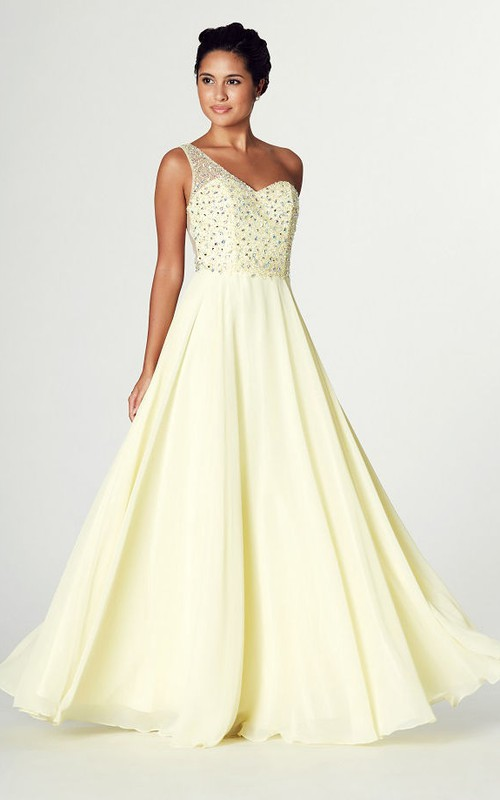 One-shoulder A-line Chiffon Dress With Beading And Illusion