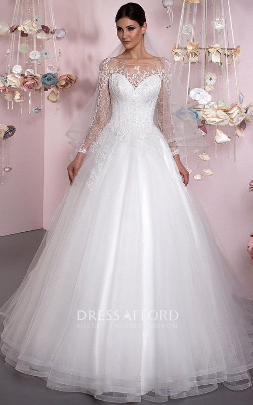Scoop-neck Illusion Long Sleeve Tulle Ball Gown With Lace And Corset Back
