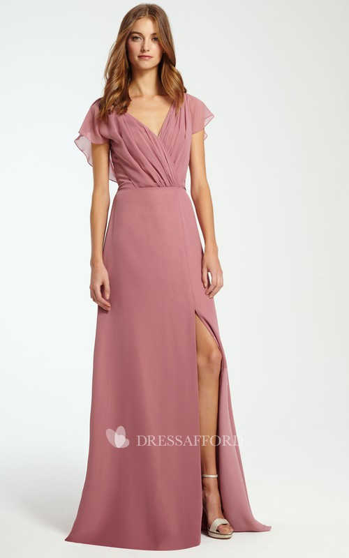 V-neck Poet-sleeve Chiffon Split Front Dress With Ruching