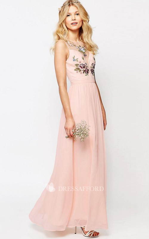 Sheath Ankle-Length Scoop-Neck Sleeveless Chiffon Bridesmaid Dress With Embroidery And Illusion