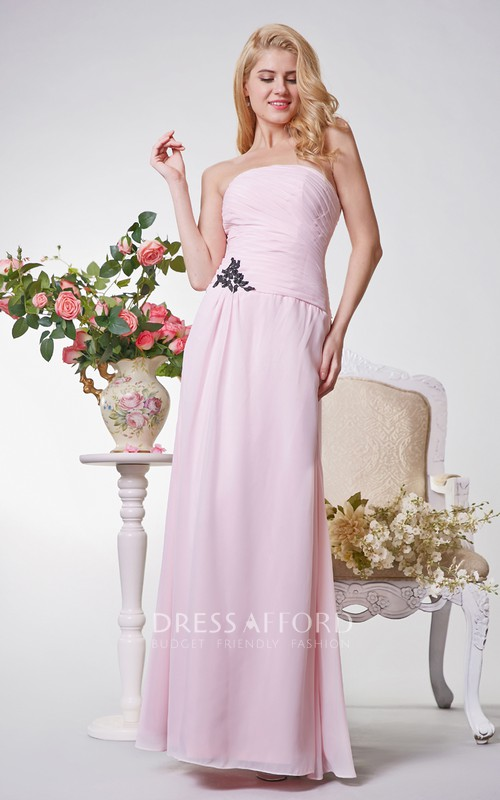 Elegant Strapless Ruched A-line Long Chiffon Dress With Appliques