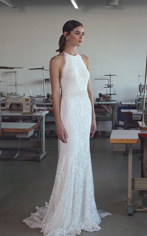Ethereal Lace Halter Neck Sleeveless Long Wedding Dress