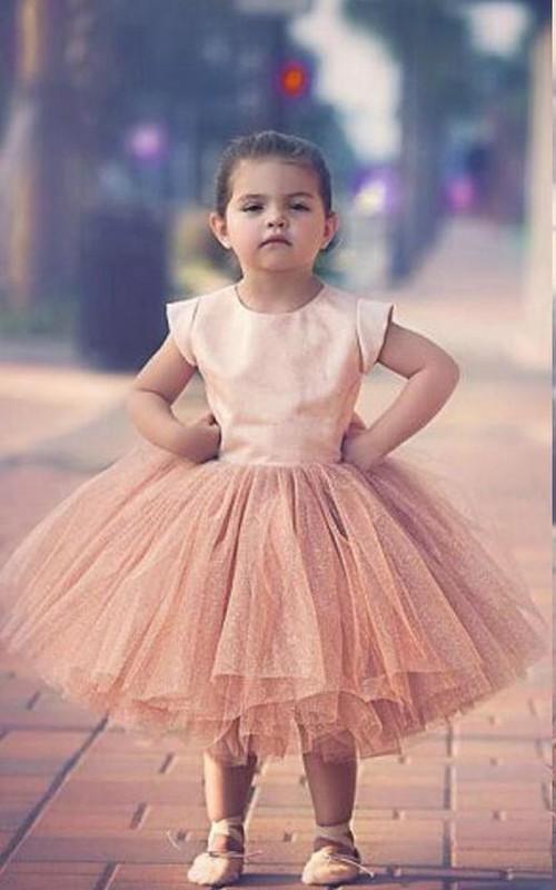 Tulle Bowknot Cap-Sleeve Lovely Princess Flower Girl Dress