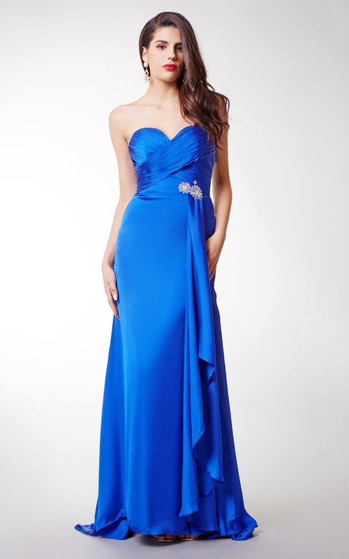 Long Front Draping High-Waist Sweetheart Gown