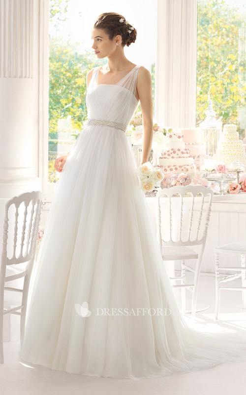 Strapped Beaded Tulle Illusion Sleeveless Long Dress