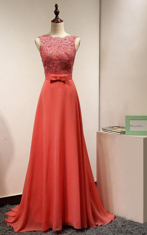 Long Coral Casual Lace Appliques Gown