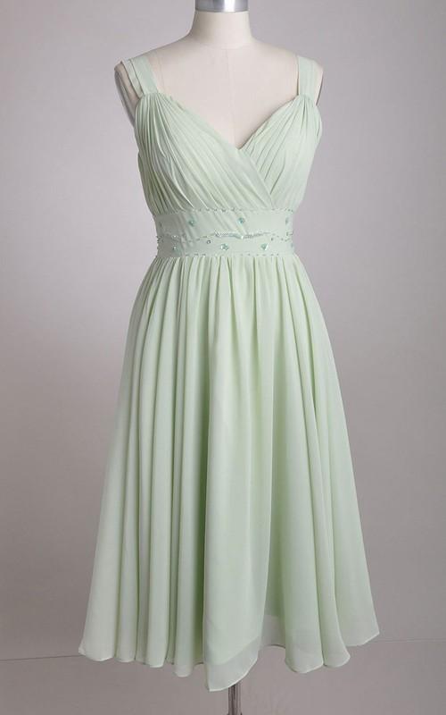 Chiffon Broad Strapped A-Line V-Neck Bridesmaid Dress