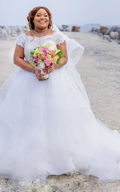 Bateau Lace Tulle Cap Short Sleeve Wedding Gown