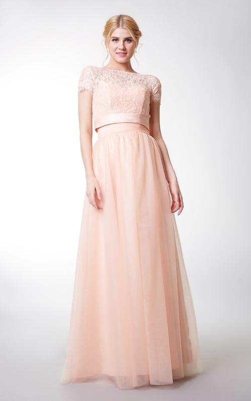 Long Jacket Tulle Sleeveless Sweetheart Floor-Length Bridesmaid Dress