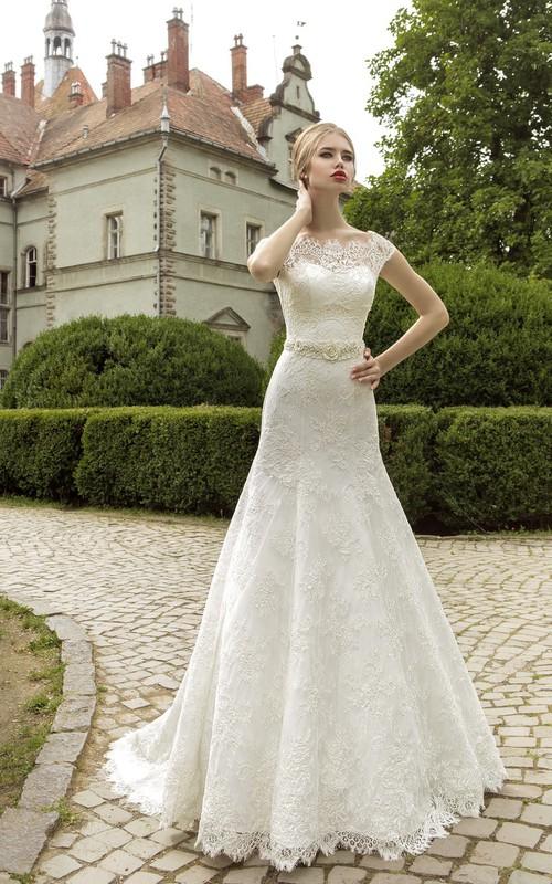 Corset-Back Floral Cap-Sleeve Bateau-Neck Lace Gown